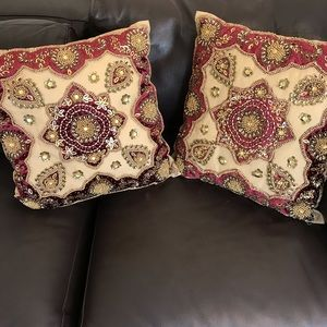 Other - Set of 2 Beaded Embroidered Decorative Pillows